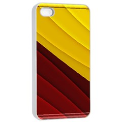 3d Glass Frame With Red Gold Fractal Background Apple Iphone 4/4s Seamless Case (white)