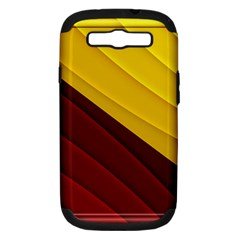 3d Glass Frame With Red Gold Fractal Background Samsung Galaxy S III Hardshell Case (PC+Silicone)