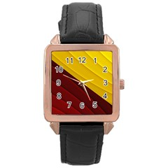 3d Glass Frame With Red Gold Fractal Background Rose Gold Leather Watch