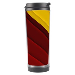 3d Glass Frame With Red Gold Fractal Background Travel Tumbler