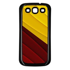 3d Glass Frame With Red Gold Fractal Background Samsung Galaxy S3 Back Case (Black)