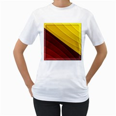 3d Glass Frame With Red Gold Fractal Background Women s T-Shirt (White)