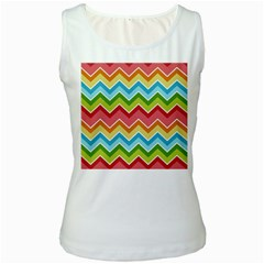 Colorful Background Of Chevrons Zigzag Pattern Women s White Tank Top