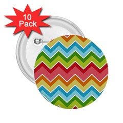 Colorful Background Of Chevrons Zigzag Pattern 2 25  Buttons (10 Pack)