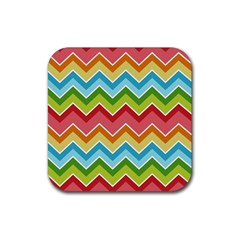 Colorful Background Of Chevrons Zigzag Pattern Rubber Square Coaster (4 Pack)