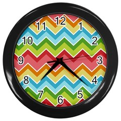 Colorful Background Of Chevrons Zigzag Pattern Wall Clocks (Black)