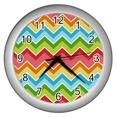 Colorful Background Of Chevrons Zigzag Pattern Wall Clocks (silver)