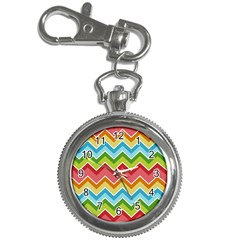 Colorful Background Of Chevrons Zigzag Pattern Key Chain Watches