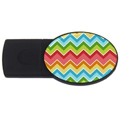 Colorful Background Of Chevrons Zigzag Pattern USB Flash Drive Oval (1 GB)