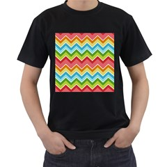 Colorful Background Of Chevrons Zigzag Pattern Men s T Shirt (black) (two Sided)
