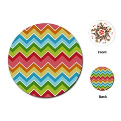 Colorful Background Of Chevrons Zigzag Pattern Playing Cards (round)