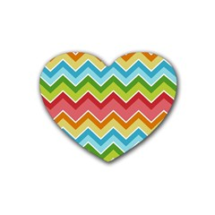 Colorful Background Of Chevrons Zigzag Pattern Heart Coaster (4 Pack)