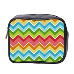 Colorful Background Of Chevrons Zigzag Pattern Mini Toiletries Bag 2 Side
