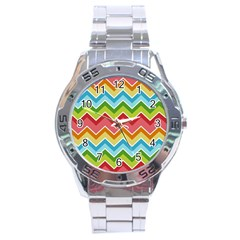 Colorful Background Of Chevrons Zigzag Pattern Stainless Steel Analogue Watch