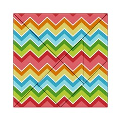 Colorful Background Of Chevrons Zigzag Pattern Acrylic Tangram Puzzle (6  x 6 )