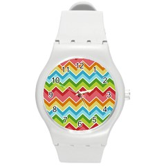 Colorful Background Of Chevrons Zigzag Pattern Round Plastic Sport Watch (M)