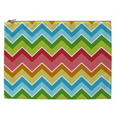 Colorful Background Of Chevrons Zigzag Pattern Cosmetic Bag (XXL)