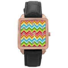 Colorful Background Of Chevrons Zigzag Pattern Rose Gold Leather Watch