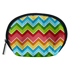 Colorful Background Of Chevrons Zigzag Pattern Accessory Pouches (Medium)