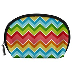 Colorful Background Of Chevrons Zigzag Pattern Accessory Pouches (Large)