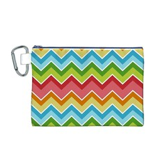 Colorful Background Of Chevrons Zigzag Pattern Canvas Cosmetic Bag (M)