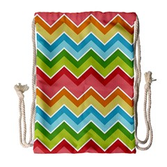 Colorful Background Of Chevrons Zigzag Pattern Drawstring Bag (large)