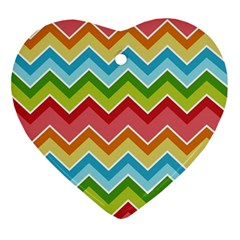Colorful Background Of Chevrons Zigzag Pattern Ornament (heart)