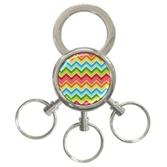 Colorful Background Of Chevrons Zigzag Pattern 3 Ring Key Chains