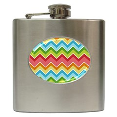 Colorful Background Of Chevrons Zigzag Pattern Hip Flask (6 Oz)