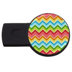 Colorful Background Of Chevrons Zigzag Pattern USB Flash Drive Round (1 GB)