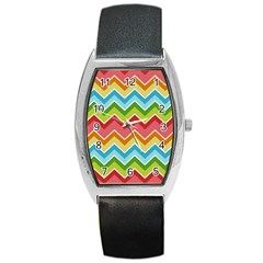 Colorful Background Of Chevrons Zigzag Pattern Barrel Style Metal Watch
