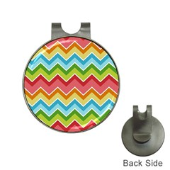 Colorful Background Of Chevrons Zigzag Pattern Hat Clips With Golf Markers