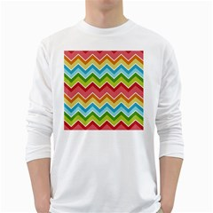 Colorful Background Of Chevrons Zigzag Pattern White Long Sleeve T Shirts