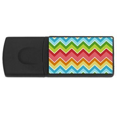 Colorful Background Of Chevrons Zigzag Pattern USB Flash Drive Rectangular (4 GB)