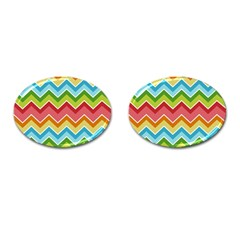 Colorful Background Of Chevrons Zigzag Pattern Cufflinks (oval)