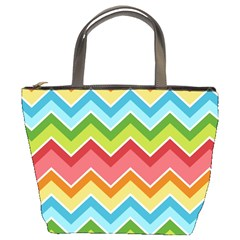 Colorful Background Of Chevrons Zigzag Pattern Bucket Bags