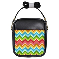 Colorful Background Of Chevrons Zigzag Pattern Girls Sling Bags
