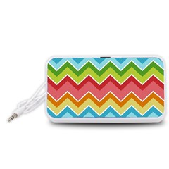 Colorful Background Of Chevrons Zigzag Pattern Portable Speaker (White)