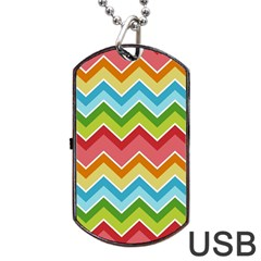 Colorful Background Of Chevrons Zigzag Pattern Dog Tag Usb Flash (one Side)