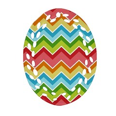 Colorful Background Of Chevrons Zigzag Pattern Oval Filigree Ornament (Two Sides)