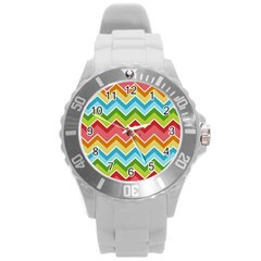 Colorful Background Of Chevrons Zigzag Pattern Round Plastic Sport Watch (l)