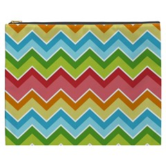 Colorful Background Of Chevrons Zigzag Pattern Cosmetic Bag (XXXL)