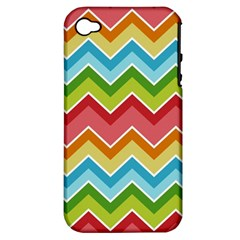 Colorful Background Of Chevrons Zigzag Pattern Apple iPhone 4/4S Hardshell Case (PC+Silicone)