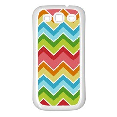 Colorful Background Of Chevrons Zigzag Pattern Samsung Galaxy S3 Back Case (white)