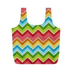 Colorful Background Of Chevrons Zigzag Pattern Full Print Recycle Bags (M)