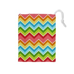 Colorful Background Of Chevrons Zigzag Pattern Drawstring Pouches (Medium)