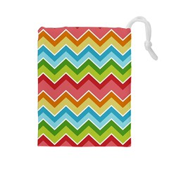 Colorful Background Of Chevrons Zigzag Pattern Drawstring Pouches (Large)