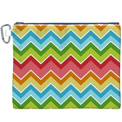 Colorful Background Of Chevrons Zigzag Pattern Canvas Cosmetic Bag (XXXL)