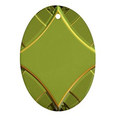 Fractal Green Diamonds Background Ornament (oval)