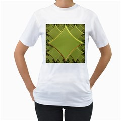 Fractal Green Diamonds Background Women s T-Shirt (White) (Two Sided)